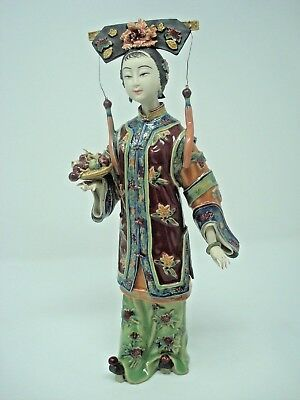"Chinese Porcelain Figurine By Lin Weidong, Handmade Statue ""birthday Wishes"""