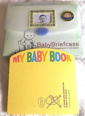 Baby Briefcase Baby Paperwork Organizer Mint Periwinkle PLUS My Baby Book