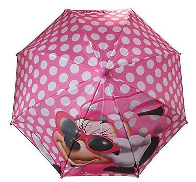 "Disney Minnie Mouse All Over Polka Dot Girls 21"" Pink Umbrella w/Figure Handle"