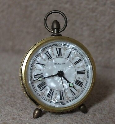 BULOVA Mother of Pearl VINTAGE Round Alarm CLOCK Made In Germany RARE read descp