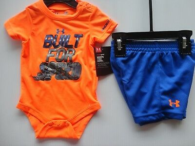 NWT Under Armour Baby Outfit Orange and Blue 2 piece Set