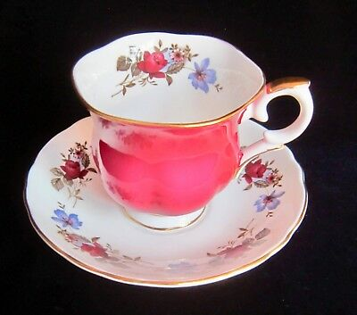 Crown Staffordshire Bone China Tea Cup & Saucer - Red & Blue Flowers on Ruby