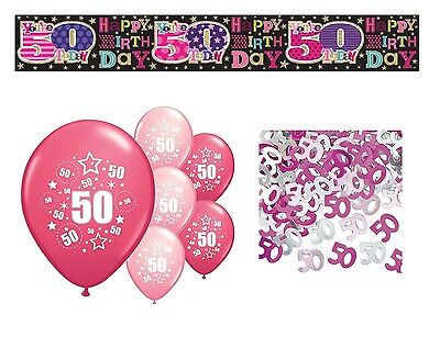 50Th Birthday Party Pack Decorations Banner Balloons Confetti