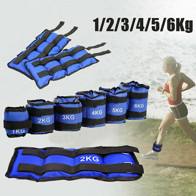 4-12 lb Adjustable Ankle Weights Pair Running Wrist Arm Gym Leg Exercise Blue