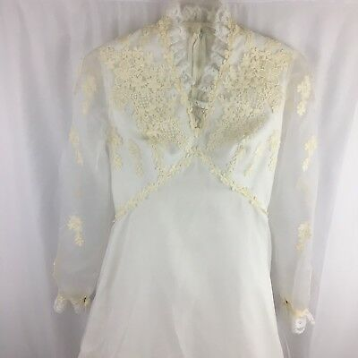 Vintage 1950s 1960s Wedding Dress Midcentury White Applique Sheer Small