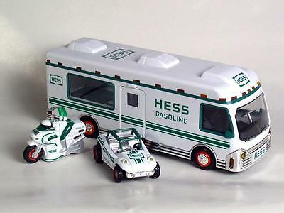 1998 HESS Toy Recreation Van with Dune Buggy and Motorcycle NEW in Box Mint