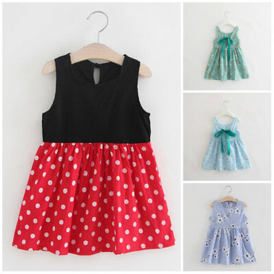 Toddler kids girls sleeveless princess dress summer baby daily party TUTU dress