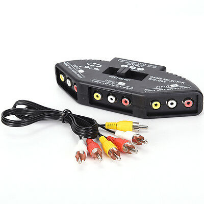3-Way Audio Video AV RCA Switch Selector Box Composite Splitter with 3-RCA NP
