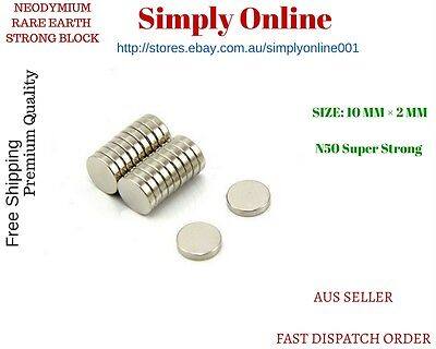 N50 Rare Earth Super Strong Magnet Disc Round Cylinder Neodymium N50 10mm x 2mm