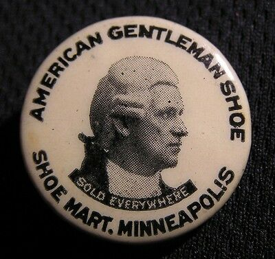 c1900 AMERICAN GENTLEMAN SHOE MART PIN Pinback Button MINNEAPOLIS MN