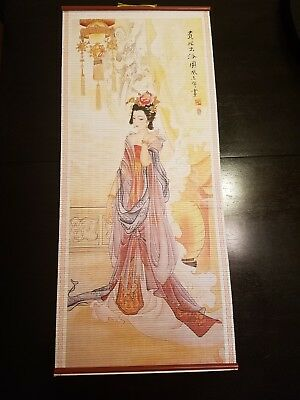 Painted Asian wall scroll- Lady/ Floral 12.5 x 30 Wall Hanging