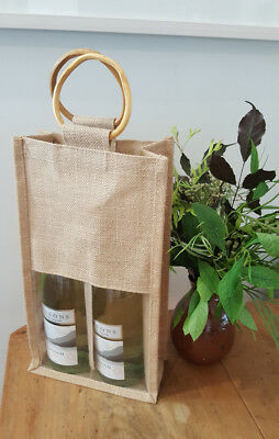Wine Gift bag with a Window - Double Wine Bottle bag Jute  - Stock in Sydney