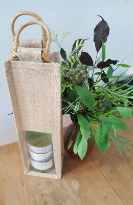 Wine Gift bag with a Window - Single Wine Bottle bag Jute  - Stock in Sydney