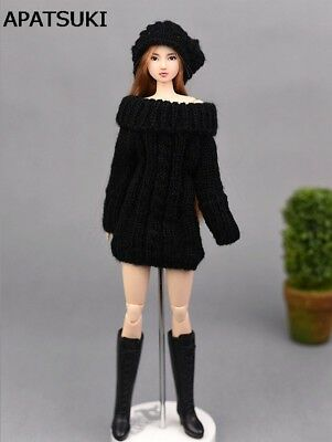 Black Handmade Knitted Woven Sweater Dress For Barbie Doll Clothes Tops Coat Toy