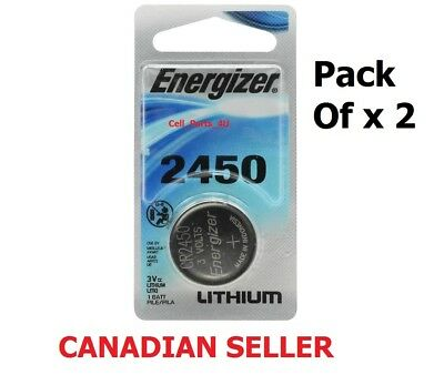 LOT x 2 New Energizer 2450 Watch Lithium 3 volt Battery, equivilate CR2450 3V