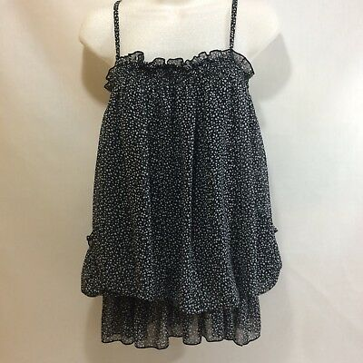 No label black double sheer baby doll bubble top size S boho festival