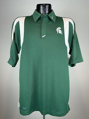 62a6670e Men's Nike Fit Dry Vintage Michigan State Spartans Green SS Sideline Polo M