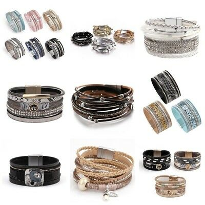 Fashion Women Multilayer Leather Rhinestone Crystal Beads Wrap Charm Bracelet