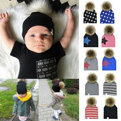 Kids Toddler Children Warm Knitted Beanie Hat Boys Girls Fur Pom Bobble Cap TP