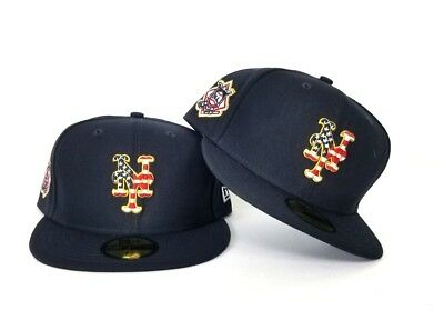 detailed look dcabc c947e New Era New York Mets 4th Of July American Flag Logo Navy Blue 5950 Fitted  Hat