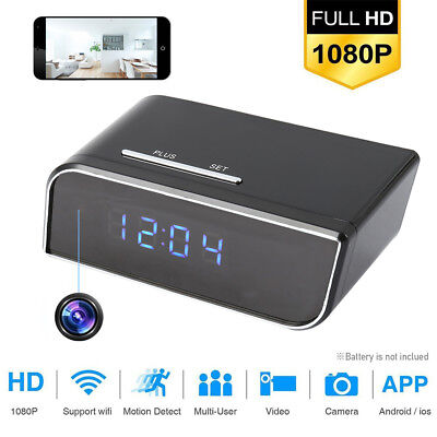 HD 1080P Wireless Wifi IP Spy Hidden Camera Motion Security Alarm Clock IR Cam.