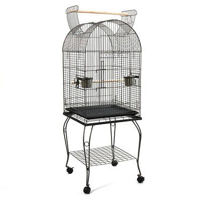 150cm Bird Cage Parrot Aviary Pet Stand-alone Budgie Perch Castor Wheels L @AA