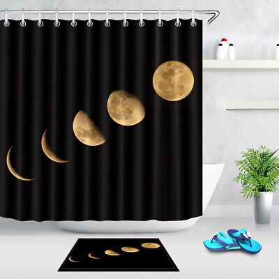Moon Eclipse Phase Pattern Waterproof Fabric Shower Curtain Liner Extra Long
