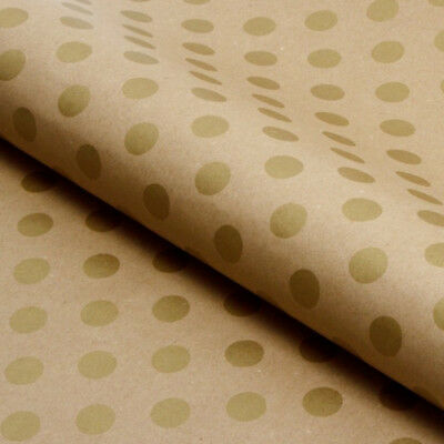 Kraft Polka Art Paper Roll Packaging Packing Craft Gift Wrapping 60GSM 50cmx50M