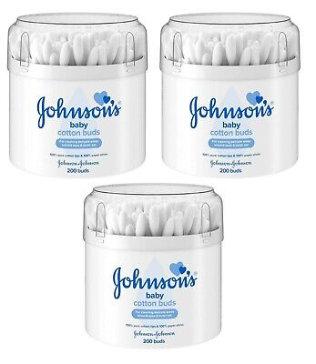 Pack of 3 Johnson Baby Cotton Buds Total of 600 Buds