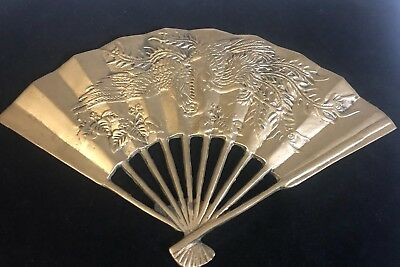Vtg Leonard Silver Co. Solid Brass Collection Decorative Table Fan Paper Weight