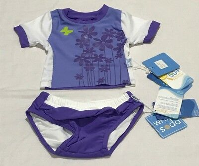 Baby Girls size 00 Purple flowers Rash vest  & Swim NAPPY  UPF50+ NEW White Soda