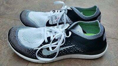 huge discount 65188 ad2e2 Nike Free 4.0 Flyknit Running Shoes Mens Us Size 12 Black White