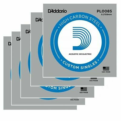 5x D'Addario plain steel Electric /Acoustic Single Guitar string gauge .0085