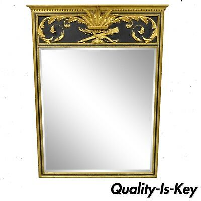 French Louis XV Neoclassical Style Black Gold Giltwood Trumeau Wall Mirror 64x48