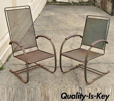 Vtg Steel Metal Mesh His and Hers Patio Bouncer Lounge Chairs Mid Century Modern