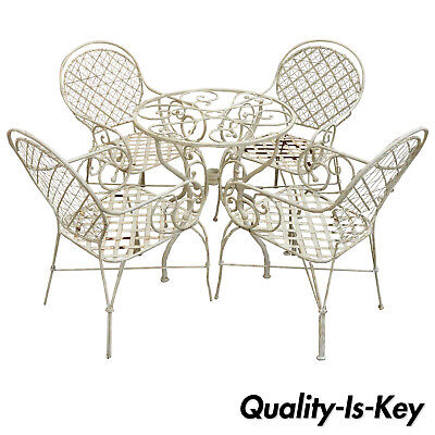 5 Pc Scroll Arm Wrought Iron Patio Bistro Dining Set Table 4 Chairs Lattice Seat