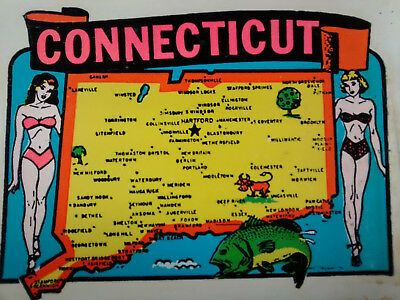 Vintage CONNECTICUT State Travel Decal Authentic Souvenir RV Luggage Camper
