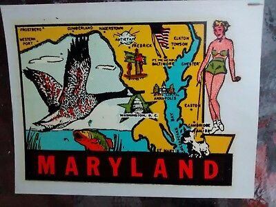 Vintage MARYLAND State Trave Decal Authentic Original Souvenir RV Luggage Camper