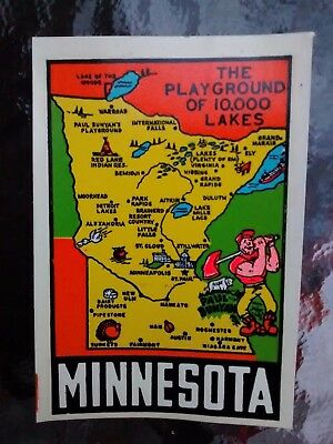 Vintage MINNESOTA State Travel Decal Authentic 1950s Souvenir RV Luggage Camper