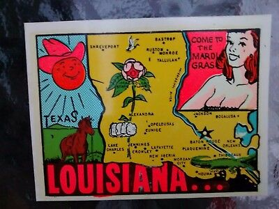 Vintage LOUISIANA State Travel Decal  Authentic Souvenir RV Camper Luggage