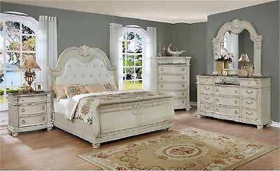Formal Classic 5pc Set Queen Size Bed White Finish Nightstand Bedroom Furniture