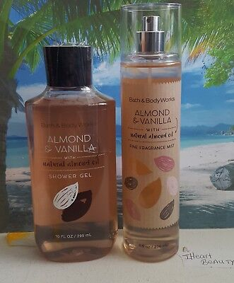 bath and body works almond & vanilla shower gel and fine fragrance mist