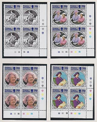 Tristan da Cunha 1985 Queen Mother set blocks of 4 cylinder numbers NHM sg390-93