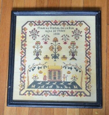 "Antique Cross Stitch Sampler ""Made by Rachel De La Rue aged 14 Years 1828"""