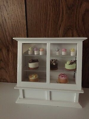 Dollhouse Miniatures White Bakery Display Case with Goodies, New, 1:12
