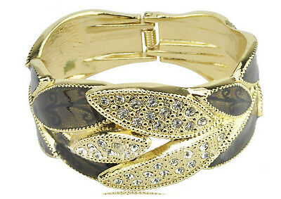 X2 Gorgeous Vintage Antique Bangle Gold/brown/black Leaf Style Silver Diamond