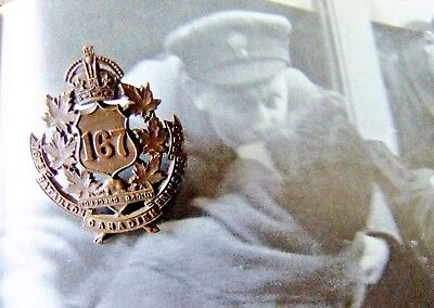 WWI Canada Military Cap Badge - 167th Quebec City