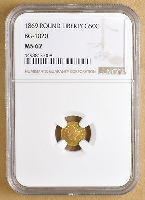 1869 Round Liberty Head Gold Half Dollar BG-1020 NGC MS62