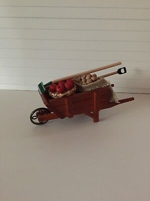 Dollhouse Miniatures Reutter Porcelain Wheelbarrow with Potatoes & Apples, New