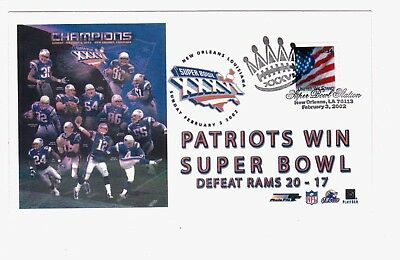 c77ba799b SUPER BOWL XXXVI New England Patriots vs St Louis Rams FDC Envelope Tom  Brady